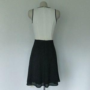 London Times Dresses - Two tone, Lazer cut scuba dress